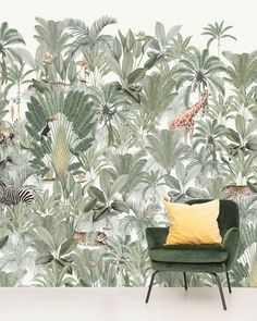 Creative Lab Amsterdam Into the Wild Wallpaper Mural - Healty fitness home cleaning Into The Wild, Jungle Vibes, Jungle Room, Creative Labs, Kids Room Design, Wall Decor, Wall Art, Green Trees, Green Colors