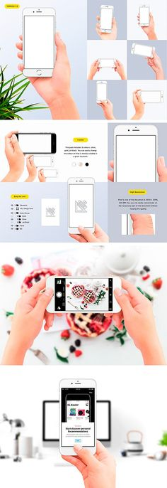 Hands holding iPhone 7 Mockups (New) by Uidea on @creativemarket