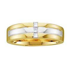 14KT Yellow Gold Two Tone 0.15CTW DIAMOND MEN'S BAND WITH 3STONE PRINCESS-CUT