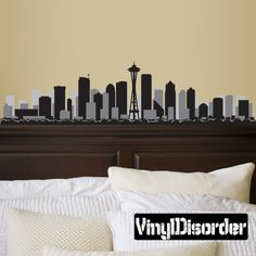 Seattle Washington Skyline Vinyl Wall Decal or Car Sticker SS096