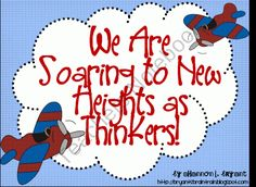 Blooms Taxonomy Classroom Posters (Soaring to New Heights as Thinkers) from Bryants Brain Train on TeachersNotebook.com (26 pages)  - Adorable airplane-themed posters and handouts for use with Blooms Taxonomy from Shannon Bryants Brain Train!