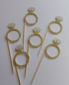 Gold Glitter Ring Cupcake Toppers Sparkly Engagement by Cardoodle