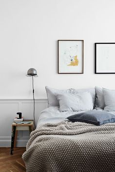 Best Modern Blue Bedroom for Your Home - bedroom design inspiration - bedroom design styles - bedroom furniture ideas - A modern motif for your bedroom could be just attained with bold blue wallpaper in an abstract design and also formed bedlinen. Scandinavian Bedroom, Cozy Bedroom, Home Decor Bedroom, Modern Bedroom, Blue Bedroom, Bedroom Ideas, Master Bedroom, Bedroom Furniture, Danish Bedroom