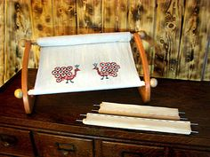The Dutch Treat Frame. This needlework frame has 4 sets of holes in the sidebars to adjust for many sizes of stitching projects.   doodlinarounddesign.com $95.95