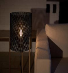 The shade is fashioned from perforated steel. The brass parts are solid and brushed. All metal parts are lacquered Tripod, Lighting Design, Steel, Floor Lamps, Home Decor, Offices, Light Design, Decoration Home, Room Decor