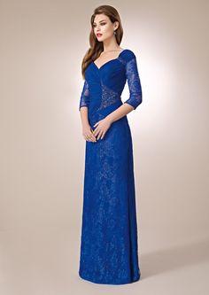 ZEILA DONNA 9333  Vestido de fiesta largo en encaje y chiffón, con detalles de cristal