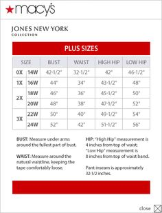 Jones New York Collection Plus Size Chart Via Macys Diffe Than Dillards