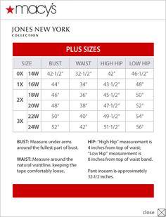 cfb4d7d761 Jones New York Collection Plus Size Chart via Macys (different than  Dillards chart!)