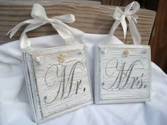 Beach Wedding Mr and Mrs Pew or Chair hangers by justbeachyshop, $29.50