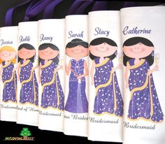 """Personalized Indian brides and bridesmaids sari wedding gifts bags or bridal shower party or wedding give away favors totes. """"My Loving Tree""""-via Etsy."""