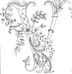 Magic Coloring - Decorated Flower Monogram Coloring Page for letter Embroidery Letters, Embroidery Stitches, Hand Embroidery, Embroidery Designs, Creative Lettering, Parchment Craft, Calligraphy Letters, Illuminated Letters, Monogram Letters