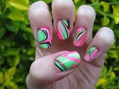 Green and pink water marble nails