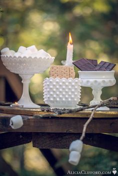 love the milk glass! and smores are always delicious and fun (only drawback is the messiness)