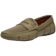 SWIMS Men's Penny Loafer - Beige/Khaki - Size 7 ($85) ❤ liked on Polyvore featuring men's fashion, men's shoes, men's loafers, mens shoes, mens mesh shoes, mens penny loafer shoes, swims mens shoes and mens swims loafers