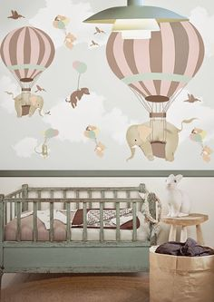 We love this stunning hot air balloon wallpaper from the amazing Little Hands. Perfect for children's rooms/nurseries and elephant loving adults