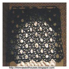 Minna's Doll World - Minnan nukkemaailma: Crocheted curtain - Virkattu verho