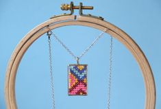 cross stitch pendant how to  use dog chart on embroidery