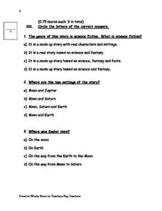 Goodbye to the Moon (Reading Quiz + Vocabulary Sheet) - Re