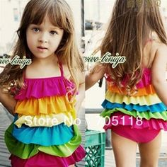 mobile site-2013New Design Girl Fashion Swim Wear Rainbow Swimsuit Kids Jumpsuits Bathing Suit Free Shipping