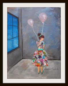 Original Figurative Painting Lonely Girl With Balloons Celebration