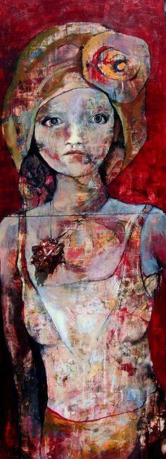 long girl mixed media on panel art painting
