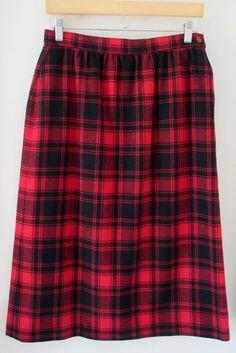 Pendleton Black Red Plaid Print Long Skirt Womens 100% Wool Made in USA Lined #Pendleton #StraightPencil