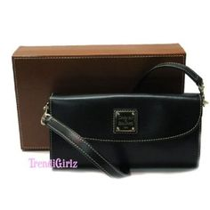 "AUTHENTIC DOONEY & BOURKE BLACK LEATHER PURSE BAG ""WALLET ON A STRAP"" (Apparel)"