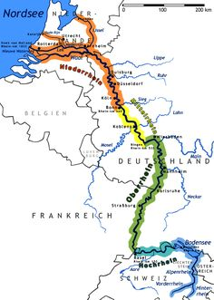Map of the Rhine River showing the four parts with the Middle Rhine in yellow.