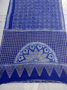 Batik hand block printed indigo-ivory saree