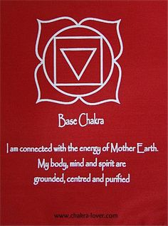 Root chakra, also called base chakra when strong means you are grounded to Mother Earth.