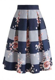 Joy to the World Stripe Floral Midi Skirt blue L - Midi Skirts - Ideas of Midi Skirts- Joy to the World Stripe Floral Midi Skirt Skirt BOTTOMS Retro Indie and Unique Fashion Unique Fashion, Modest Fashion, Fashion Dresses, Fashion Fashion, Retro Fashion, Indie Fashion, Fashion Brands, Fashion Shoes, Womens Fashion