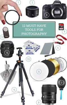 12 Essential Photography Supplies 12 Must Have Photography Tools and Supplies – This is a comprehensive guide to essential photography gear for all skill levels, [. Photography Supplies, Dslr Photography Tips, Photography Accessories, Photography Lessons, Photography For Beginners, Photography Equipment, Photography Business, Photography Tutorials, Digital Photography