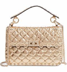 Main Image - VALENTINO GARAVANI Matelassé Rockstud Spike Leather Top Handle Bag #Top-HandleBags