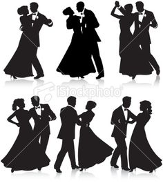 Formal dance silhouettes Royalty Free Stock Vector Art Illustration