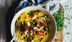 "In this Creamy Saffron Lemon Pasta I opted for the ""more is more"" method and added everything that is good. Like asparagus, halloumi, almonds and thyme."