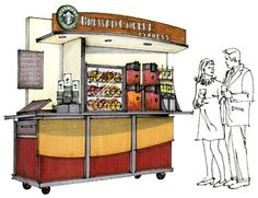 Food and coffee cart. Designed for grab and go items. Refrigerated underside. www.Cart-King.com
