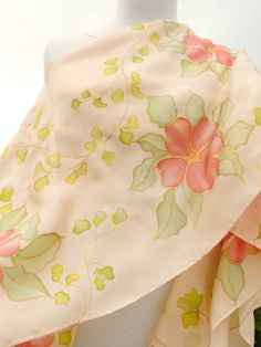 Hand painted silk scarf pastel pink red flowers baby by Irisit