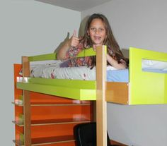 DIY loft bed by NeoEko.  One of many more examples of home-made loft beds and bunk beds using plans and manual by  NeoEko.  Youtube: http://youtu.be/3sWXxsEUZME