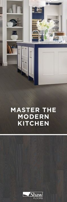 Make it modern with Arden Oak hardwood in Charcoal and open the playbook for white décor and stainless steel appliances. Kitchen Decor, Kitchen Ideas, Kitchen Cabinetry, White Decor, Vinyl Flooring, Kitchen Remodel, Hardwood Floors, Charcoal, Appliances
