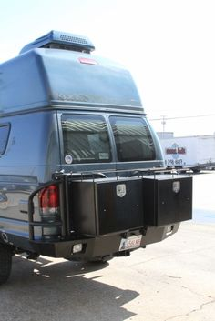 Sportsmobile Custom Camper Vans - Pre-owned Vans - Texas  Aluminess rear bumper with double box swing arms