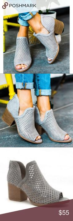 PRE-ORDER JUSTINE Peep Toe Booties - L. GREY So perfect for summer! Super comfy. PRE-ORDER: expected arrival date: 7/14. Shoes Ankle Boots & Booties
