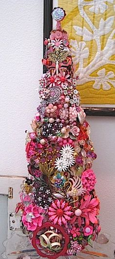 Grama's pink jewelry....into a pink tree....