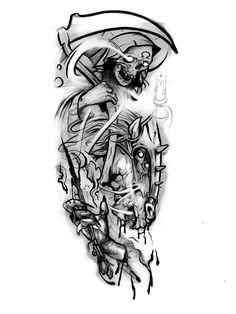 Ozzy Tattoo, Arm Tattoo, Sleeve Tattoos, Tattoo Sketches, Tattoo Drawings, Drawing Sketches, Line Tattoos, Black Tattoos, Grim Reaper Tattoo