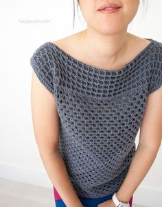 Waffle stitch adds interest and texture to the basic granny squared crochet top