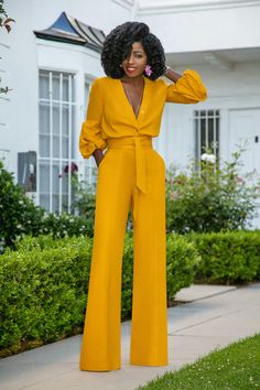 Billowy Sleeve Button-Down Jumpsuit (Style Pantry) Pantsuits For Women, Jumpsuits For Women, Classy Outfits, Chic Outfits, Style Pantry, Jumpsuit Outfit, Jumpsuit Style, Overall, Elegant Outfit