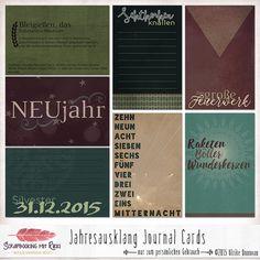 Dies ist ein Set von Scrapbook Journaling Karten zum Thema Jahresausklang, Neujahr und Silvester.    Im...