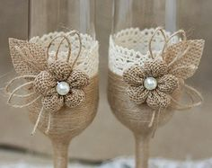 Rustic Lace Burlap Toasting Flutes, Champagne Burlap Flower Wedding Glasses Set, Bride and Groom Toasting Glasses, Toasting Rustic Glasses