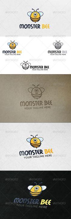 Monster Bee  Logo Template — Vector EPS #alien #entertainment • Available here → https://graphicriver.net/item/monster-bee-logo-template/6385821?ref=pxcr