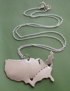Long Distance Love Customizable Necklace. $68.00, via Etsy.    funny that it's already right where it's supposed to be.