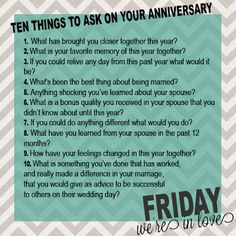 10 Questions To Ask On Your Anniversary